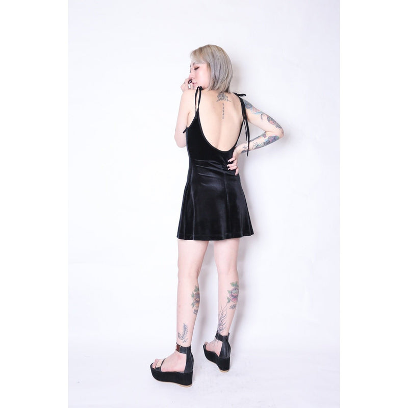 Sexy Backless Velvet Dresses - The Black Ravens