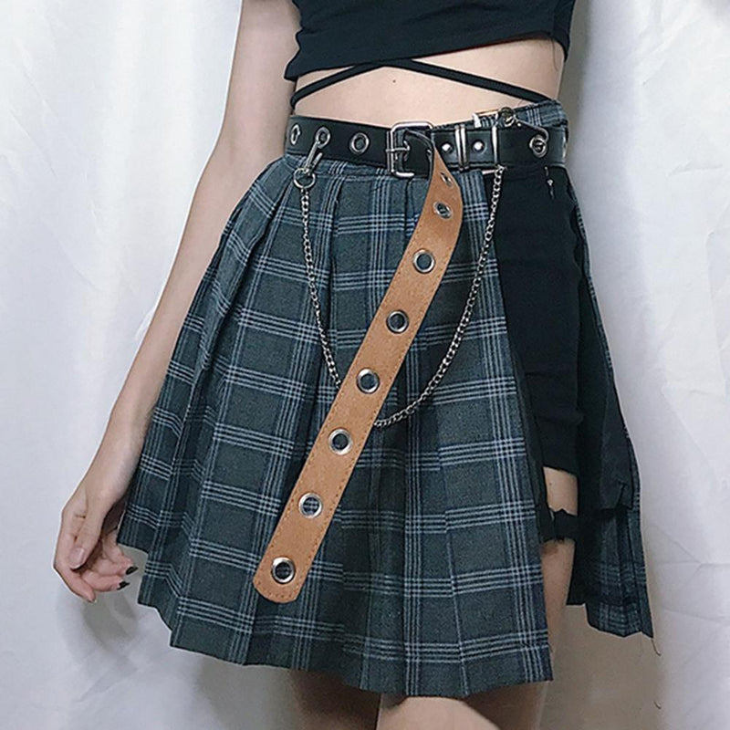 Sexy Bandage Plaid Punk Skirt - The Black Ravens