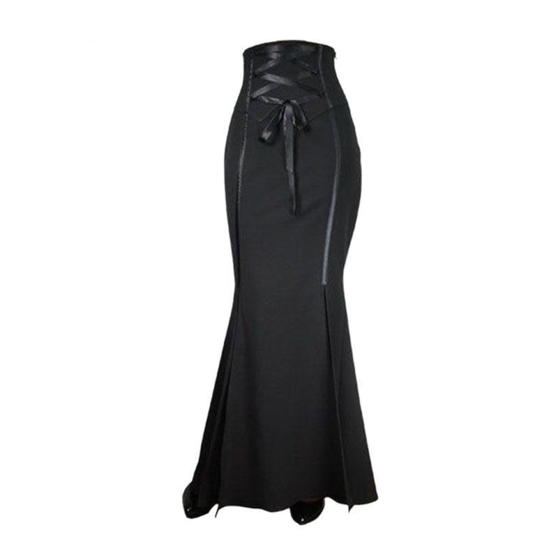 Sexy Black Curvy Ankle-Length Fishtail Skirt-Black-S-