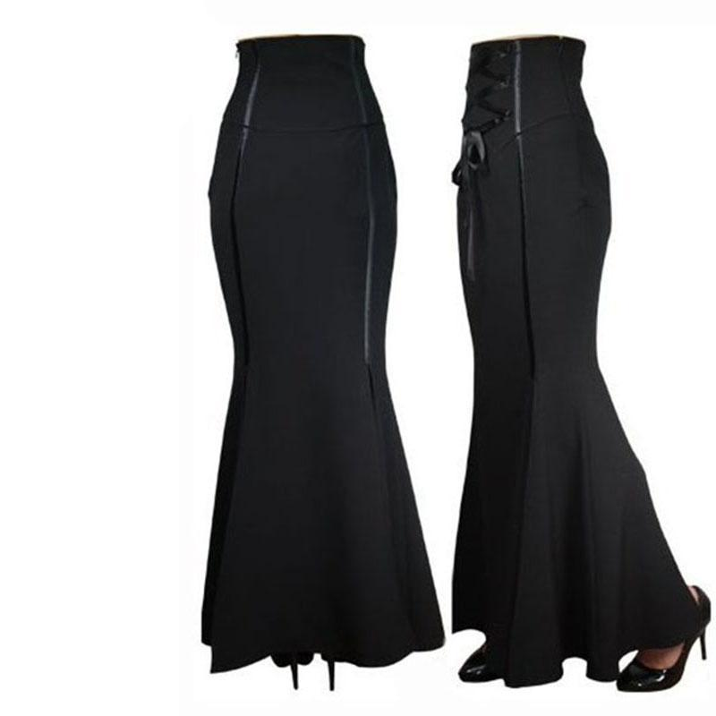 Sexy Black Curvy Ankle-Length Fishtail Skirt - The Black Ravens