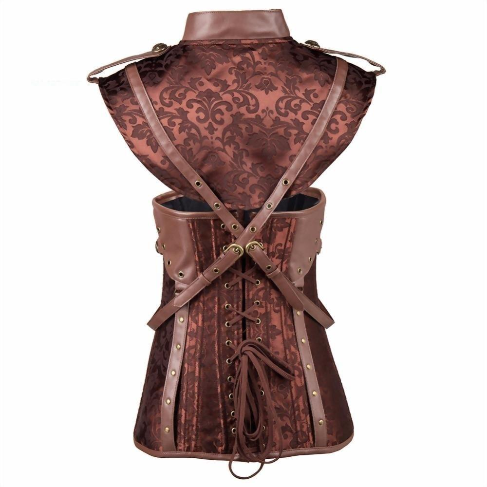 Sexy Brown Steampunk Vintage Corset - Plus Size Available - The Black Ravens
