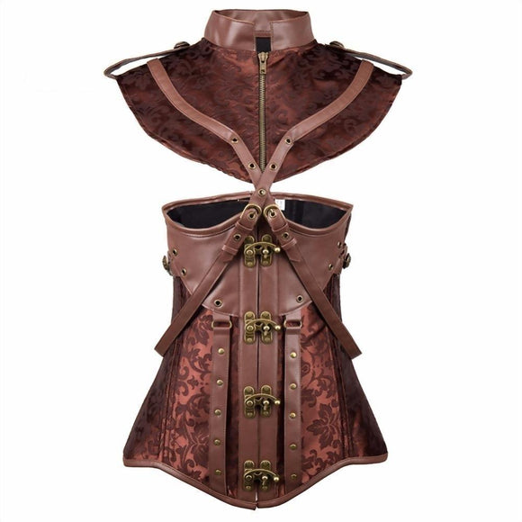Sexy Brown Steampunk Vintage Corset - Plus Size Available-Coffee-S-