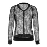 Sexy Casual Lace See-Through Jacket For Women-Black-S-