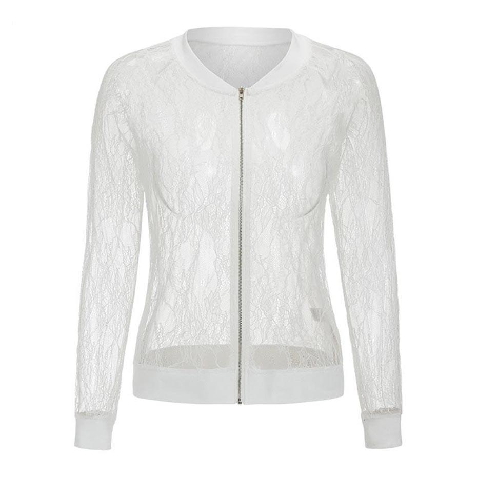 Sexy Casual Lace See-Through Jacket For Women-White-S-