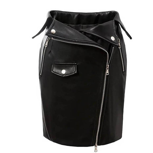 Sexy Casual Zipper Pocket Punk-Black-S-