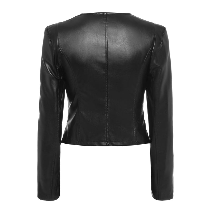 Sexy Cropped Leather Biker Jacket-S-