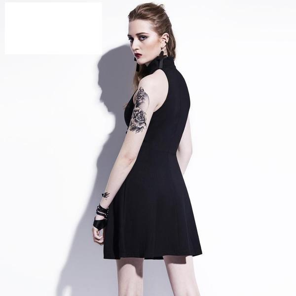Sexy Cross Print Gothic Dress - The Black Ravens