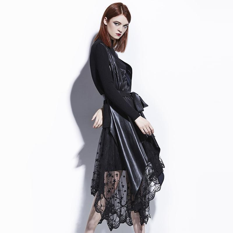 Sexy Faux Leather Lace Overcoat For Women - The Black Ravens