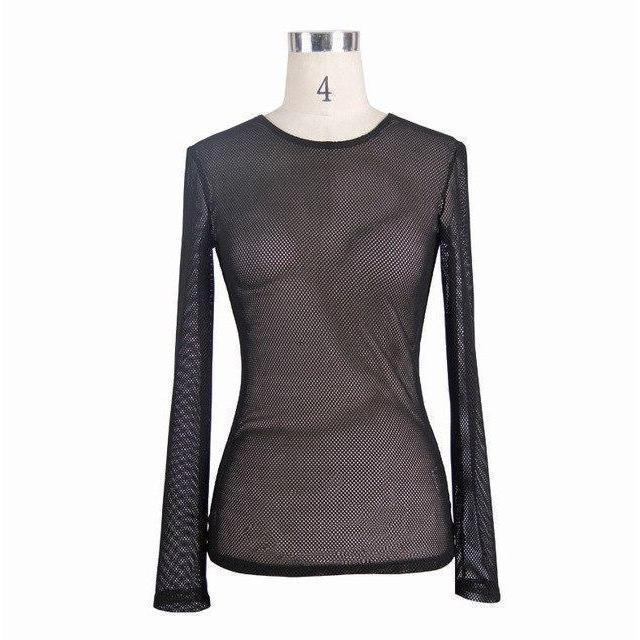 Sexy Full Sleeve See-Through Gothic Top-L-
