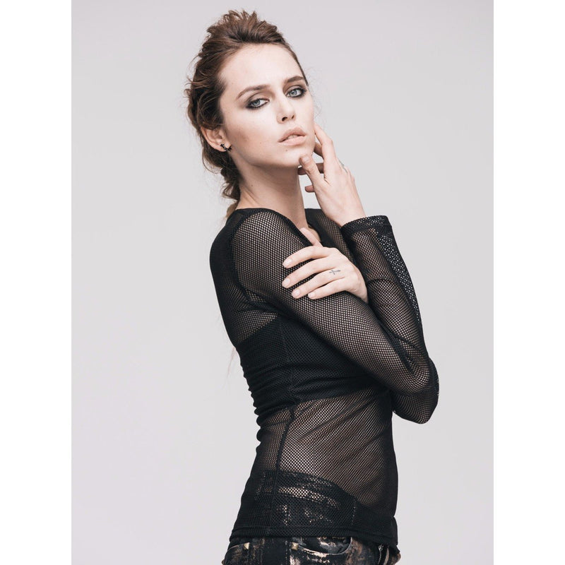 Sexy Full Sleeve See-Through Gothic Top-XS-