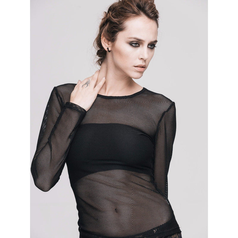 Sexy Full Sleeve See-Through Gothic Top - The Black Ravens