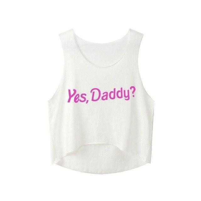 Sexy Girls Yes Daddy Crop Top-White-S-