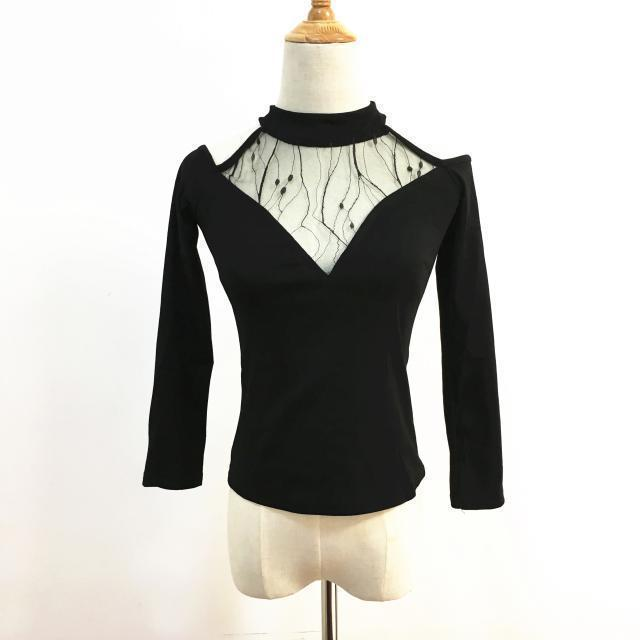 Sexy Gothic Full Sleeve Mesh Top-S-