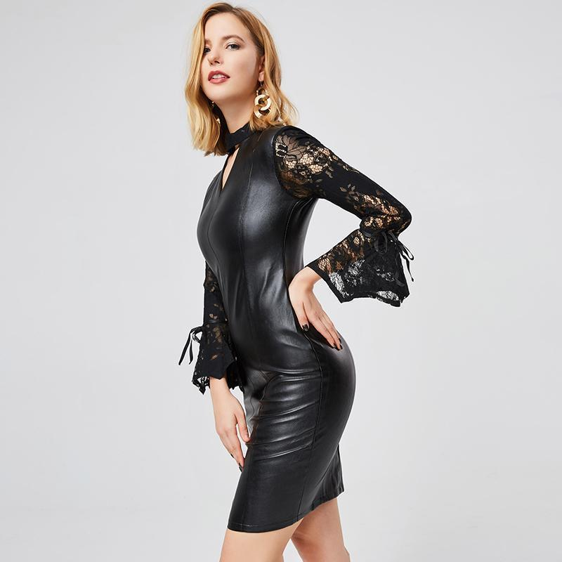 Sexy Gothic Leather Bodycon-M-