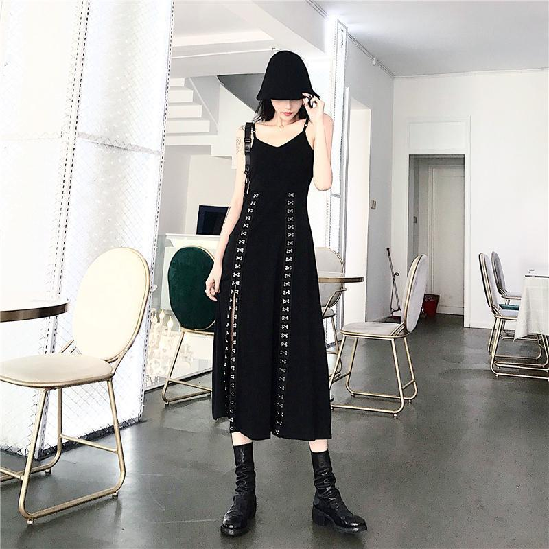 Sexy Gothic Metal Hook Slit Long Dress-S-
