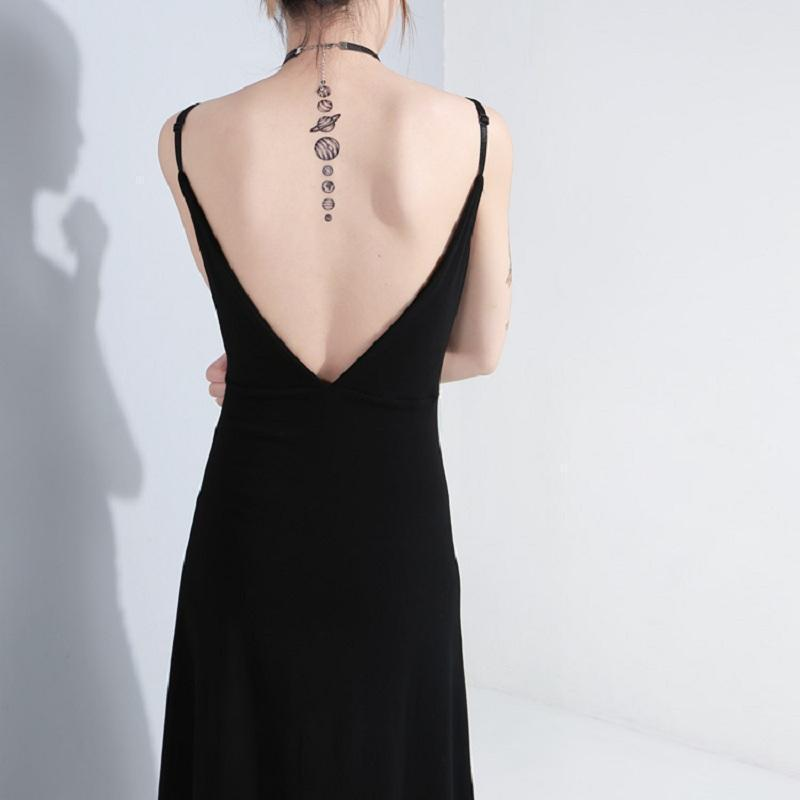 Sexy Gothic Metal Hook Slit Long Dress - The Black Ravens