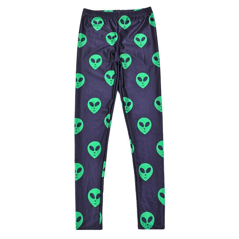 Sexy Green Alien Head Print Leggings-Black-One Size-