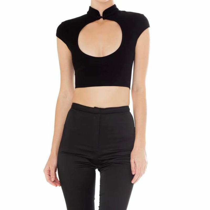 Sexy Hollow Out Chest Ladies Crop Top-Black-S-