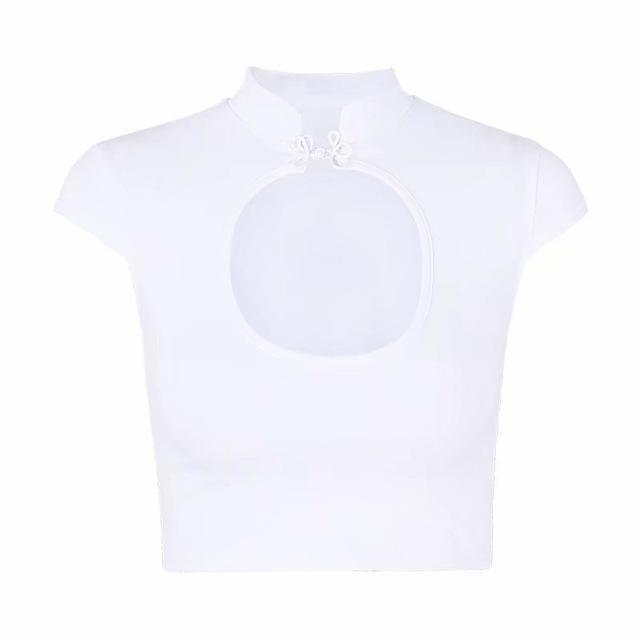 Sexy Hollow Out Chest Ladies Crop Top-White-M-