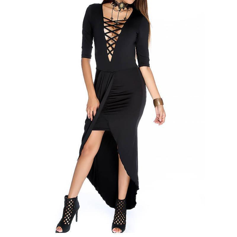 Sexy Hollow Stitch Gothic Party Dress - The Black Ravens