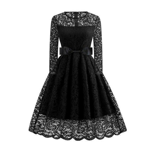Sexy Lace Black Vintage Dress-S-