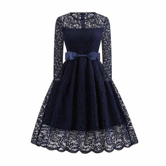 Sexy Lace Evening Blue Vintage Dress - The Black Ravens