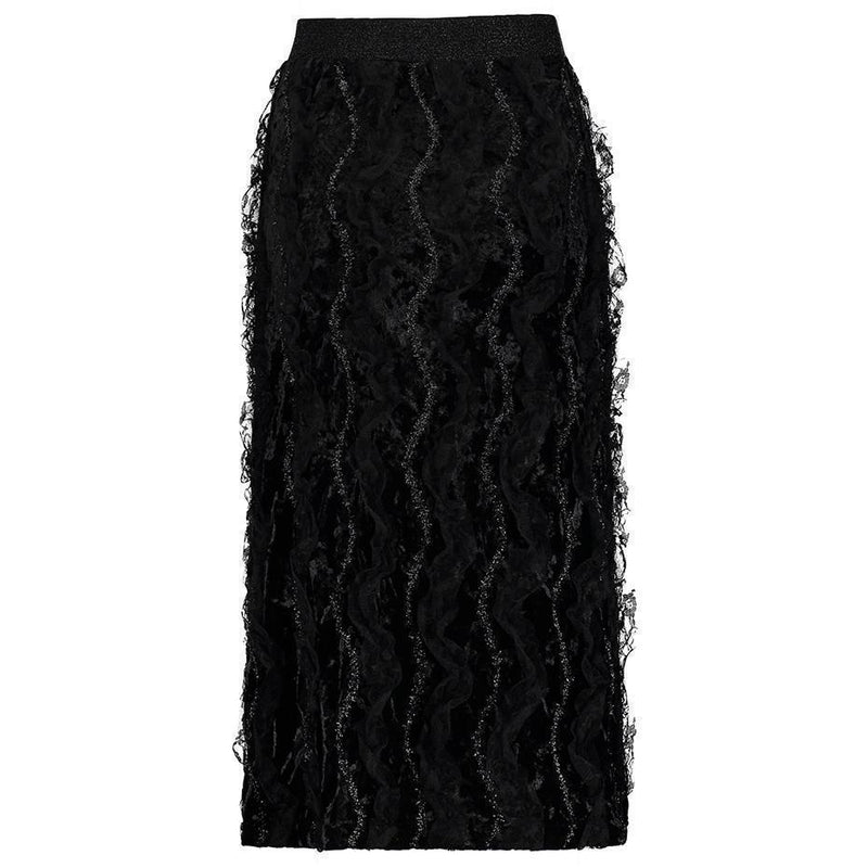 Sexy Lace Twirl Skirt For Women-Black-S-