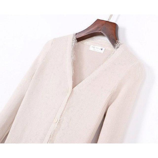 Sexy Lacey Knitted Women's Cardigan-Beige-L-
