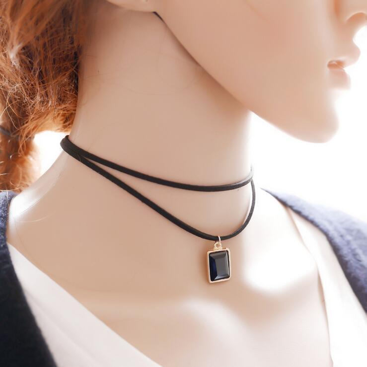 Sexy Ladies Gemstone Alternative Chokers-Black-