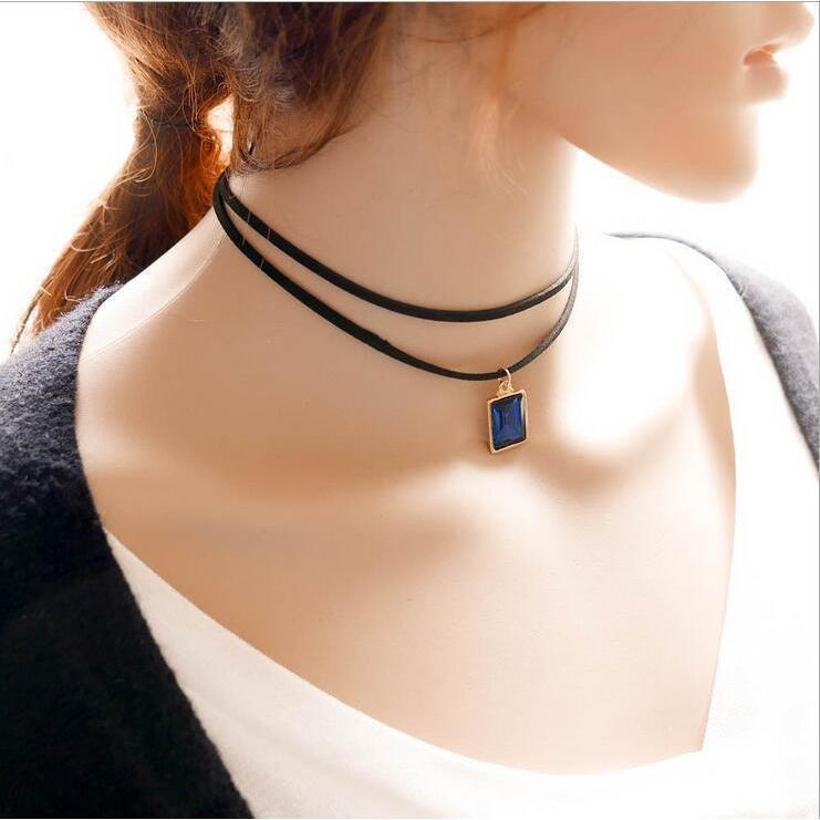 Sexy Ladies Gemstone Alternative Chokers-Blue-