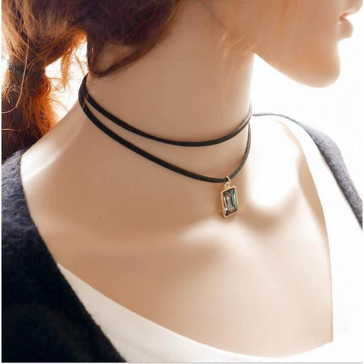 Sexy Ladies Gemstone Alternative Chokers-Gray-