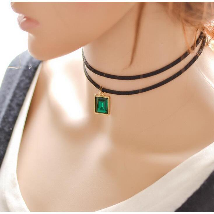 Sexy Ladies Gemstone Alternative Chokers-Green-