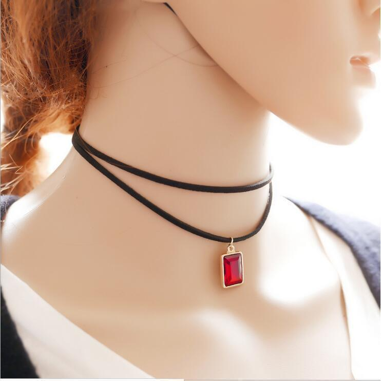 Sexy Ladies Gemstone Alternative Chokers-Red-