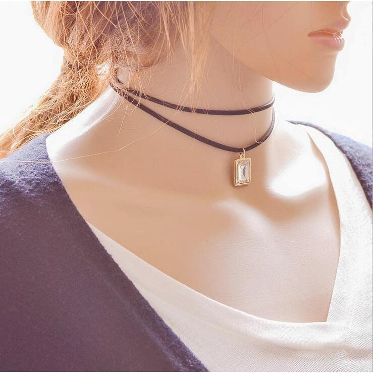 Sexy Ladies Gemstone Alternative Chokers-White-