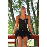 Sexy Leather Floral Bowknot Lace Corset-Black-S-