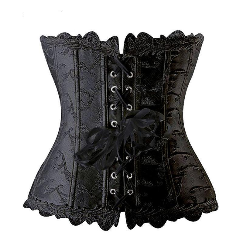 Sexy Leather Floral Bowknot Lace Corset - The Black Ravens