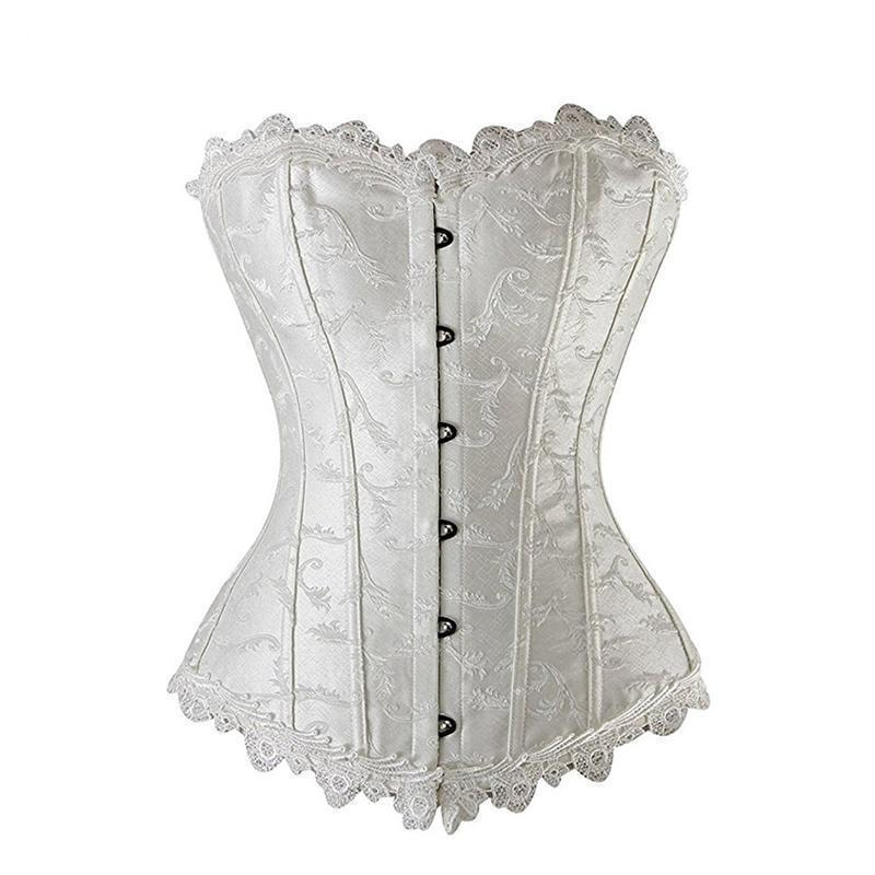 Sexy Leather Floral Bowknot Lace Corset-White-S-