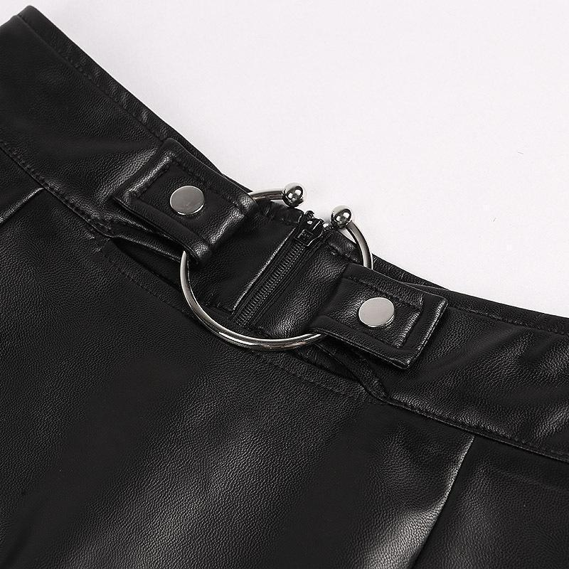 Sexy Leather Pencil Mini Skirt-S-