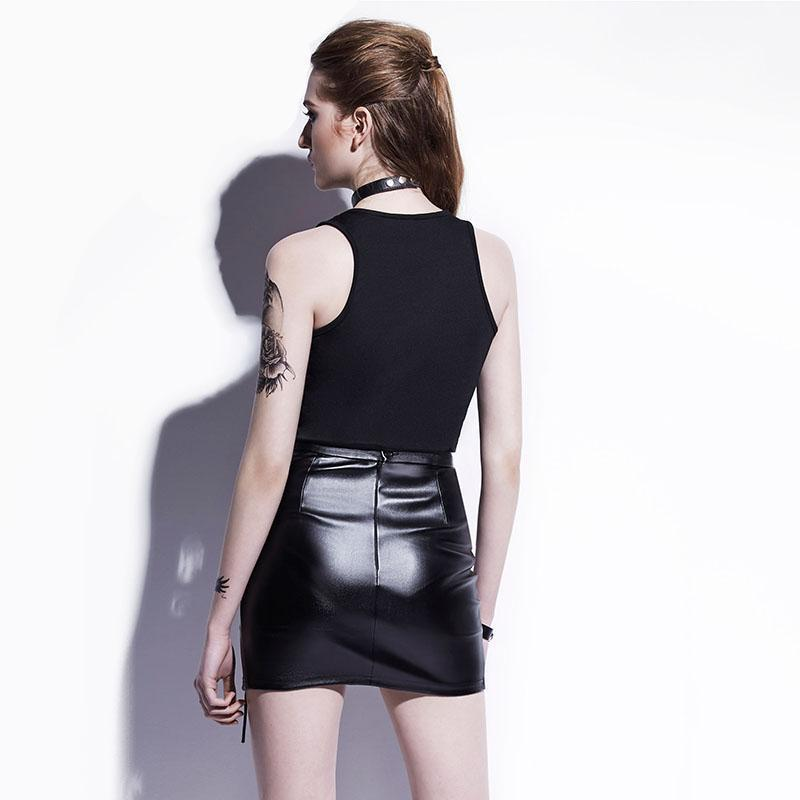 Sexy Leather Short Pencil Skirt-Black-S-