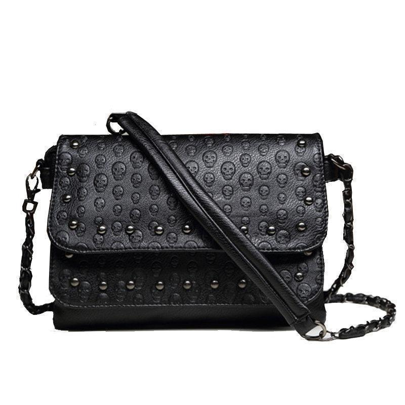 Sexy Little Handbag With Stud Skulls - The Black Ravens
