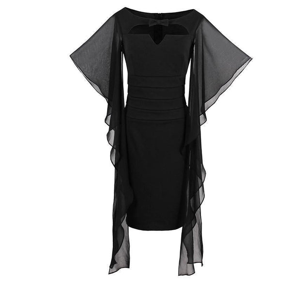 Sexy Long Bodycon Witches Style Dresses-Black-S-