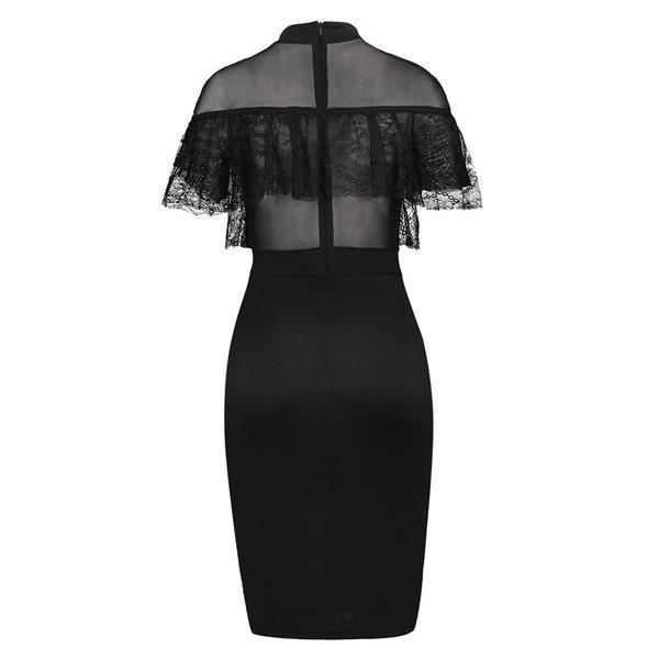Sexy Midi Lace Bodycon Mesh Dress - The Black Ravens
