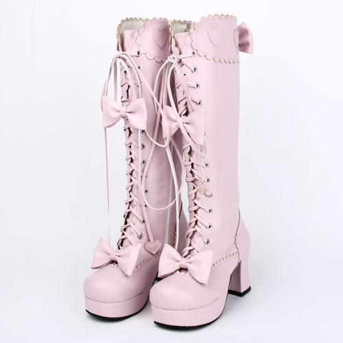 Sexy Pink Lace Lolita Bowtie Boots - The Black Ravens