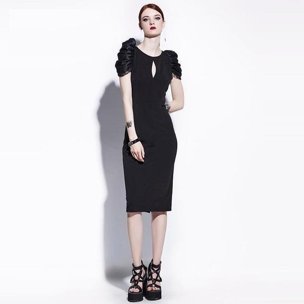Sexy Puff Sleeve Gothic Dress-S-