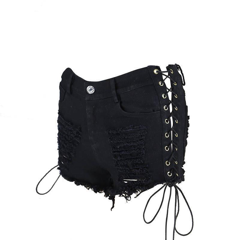 Sexy Punk Elastic Lace Up Shorts-Black-S-