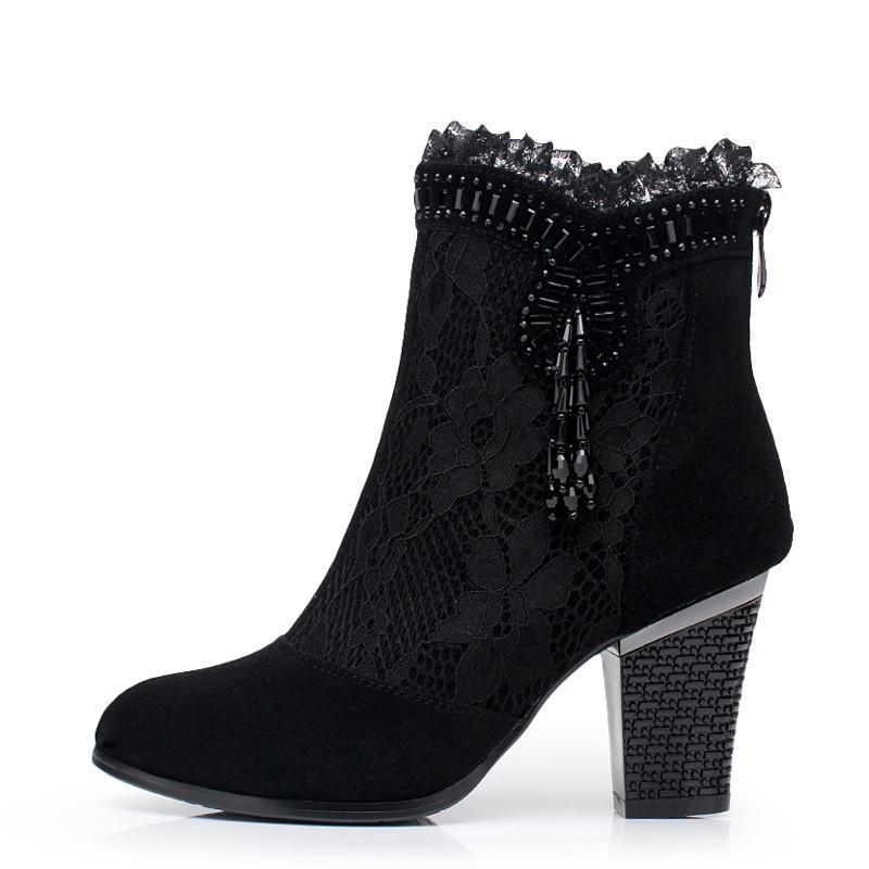 Sexy Punk Lacey Heel Shoes For Women - The Black Ravens