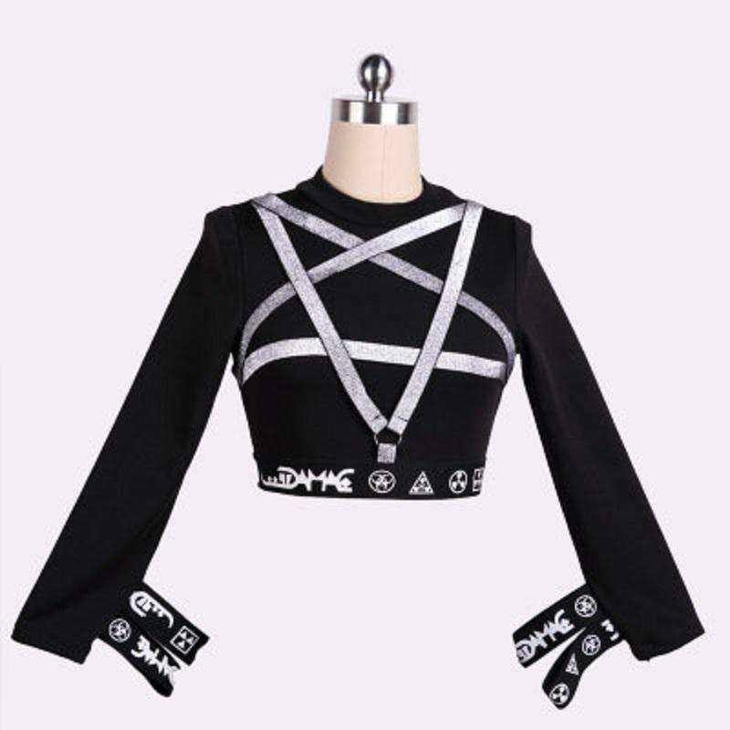 Sexy Punk Pentagram Crop Top-S-