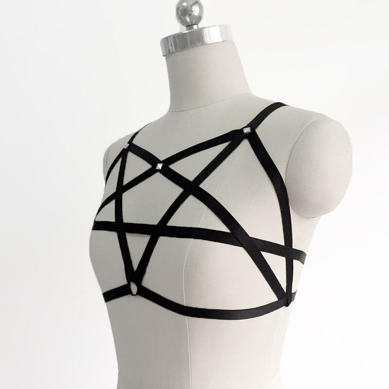 Sexy Punk Rock Pentagram Bra Cage-