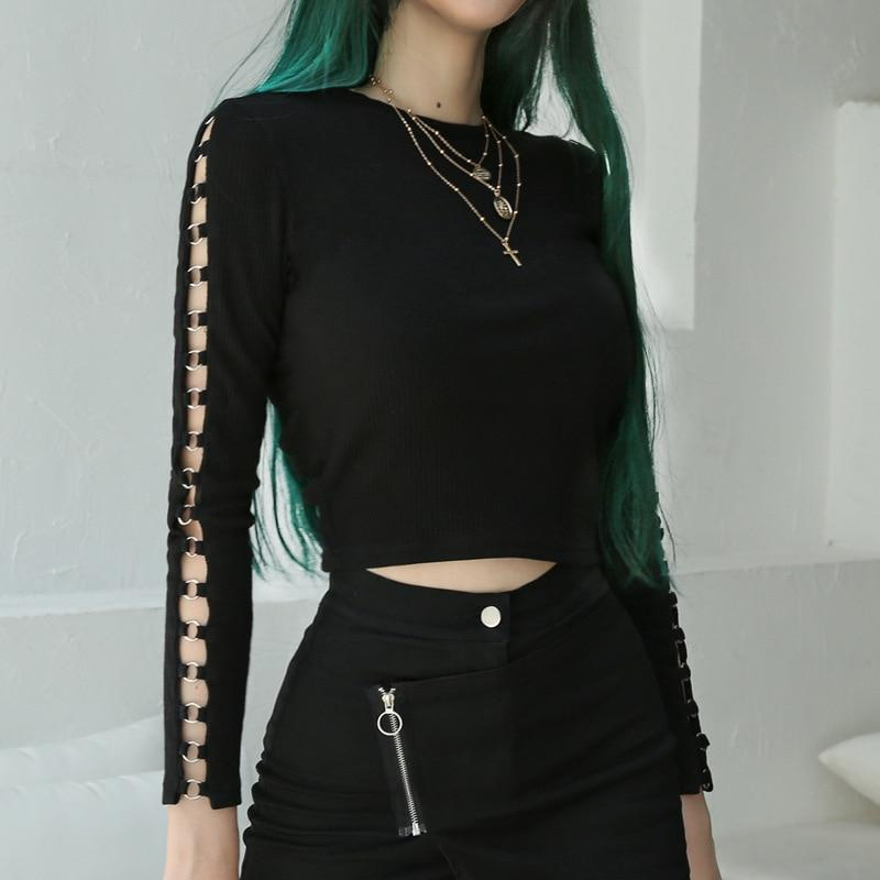 Sexy Punk Rock Sleeve Rings Girl's Top - The Black Ravens