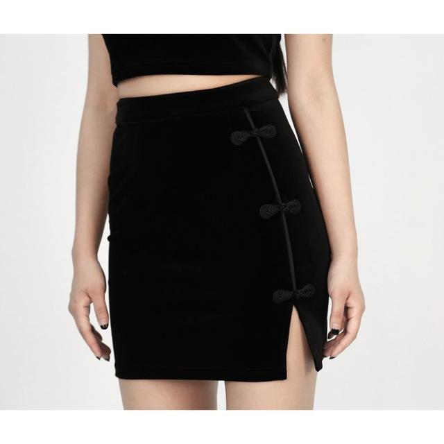 Sexy Punk Rock Top and Skirt Set-BlackSkirt-M-